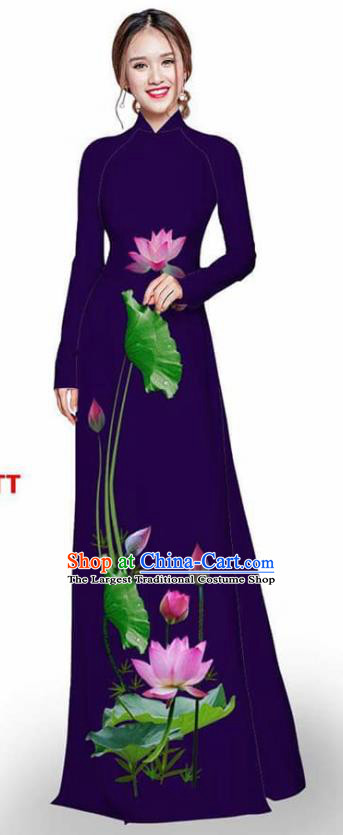 Asian Vietnam Traditional Deep Purple Cheongsam Vietnamese Printing Lotus Ao Dai Qipao Dress for Women