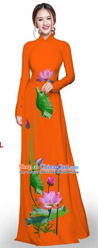 Asian Vietnam Traditional Orange Cheongsam Vietnamese Printing Lotus Ao Dai Qipao Dress for Women