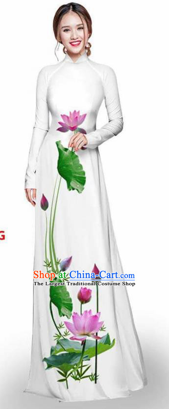 Asian Vietnam Traditional White Cheongsam Vietnamese Printing Lotus Ao Dai Qipao Dress for Women