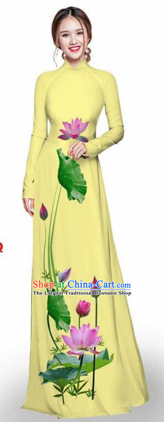 Asian Vietnam Traditional Yellow Cheongsam Vietnamese Printing Lotus Ao Dai Qipao Dress for Women