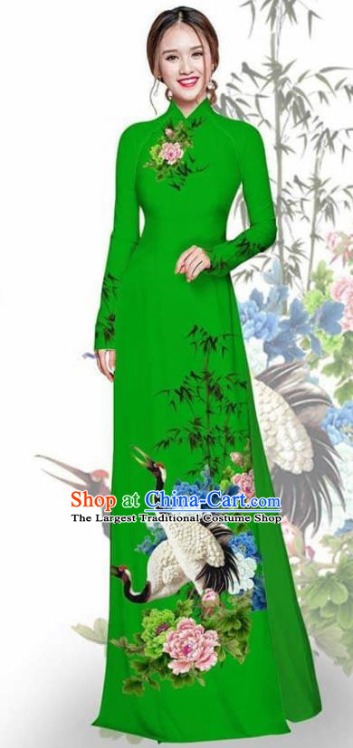 Asian Vietnam Traditional Printing Crane Peony Deep Green Cheongsam Vietnamese Ao Dai Qipao Dress for Women