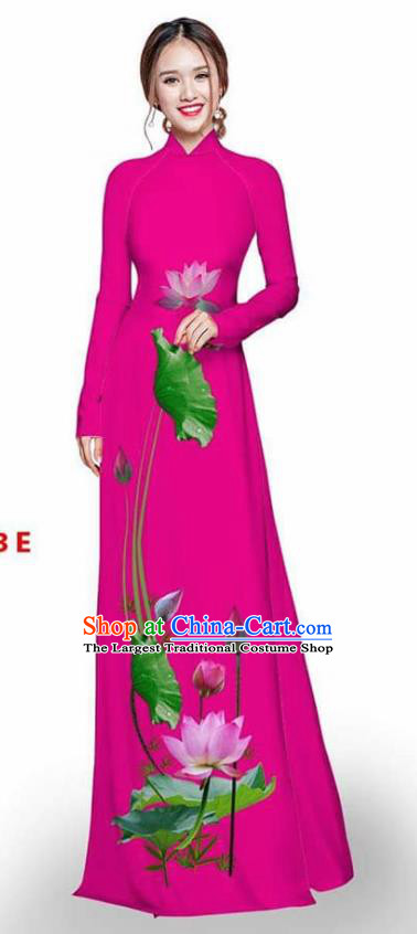 Asian Vietnam Traditional Rosy Cheongsam Vietnamese Printing Lotus Ao Dai Qipao Dress for Women