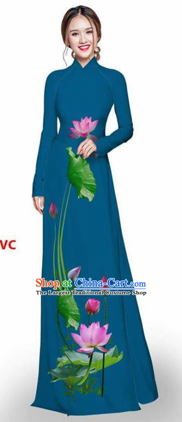 Asian Vietnam Traditional Peacock Blue Cheongsam Vietnamese Printing Lotus Ao Dai Qipao Dress for Women