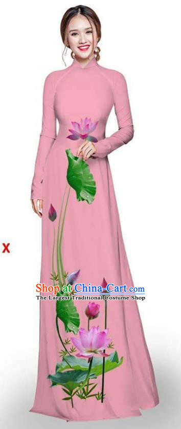 Asian Vietnam Traditional Pink Cheongsam Vietnamese Printing Lotus Ao Dai Qipao Dress for Women
