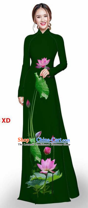 Asian Vietnam Traditional Deep Green Cheongsam Vietnamese Printing Lotus Ao Dai Qipao Dress for Women