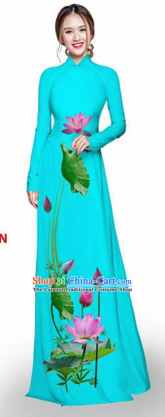 Asian Vietnam Traditional Blue Cheongsam Vietnamese Printing Lotus Ao Dai Qipao Dress for Women