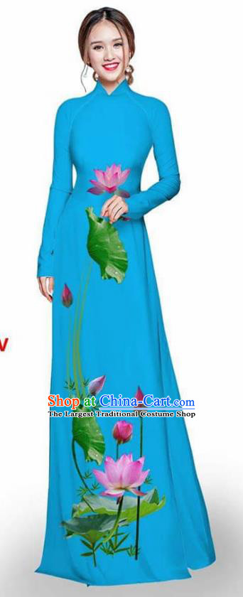 Asian Vietnam Traditional Lake Blue Cheongsam Vietnamese Printing Lotus Ao Dai Qipao Dress for Women