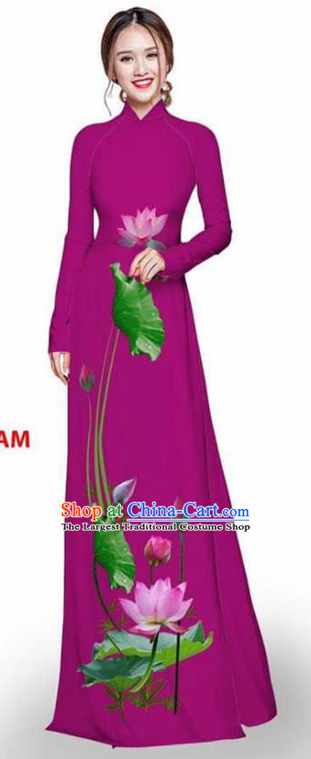 Asian Vietnam Traditional Amaranth Cheongsam Vietnamese Printing Lotus Ao Dai Qipao Dress for Women