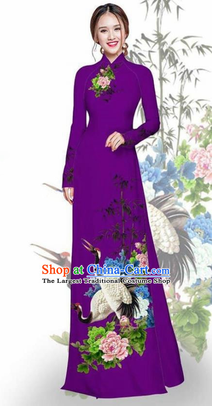 Asian Vietnam Traditional Printing Crane Peony Violet Cheongsam Vietnamese Ao Dai Qipao Dress for Women