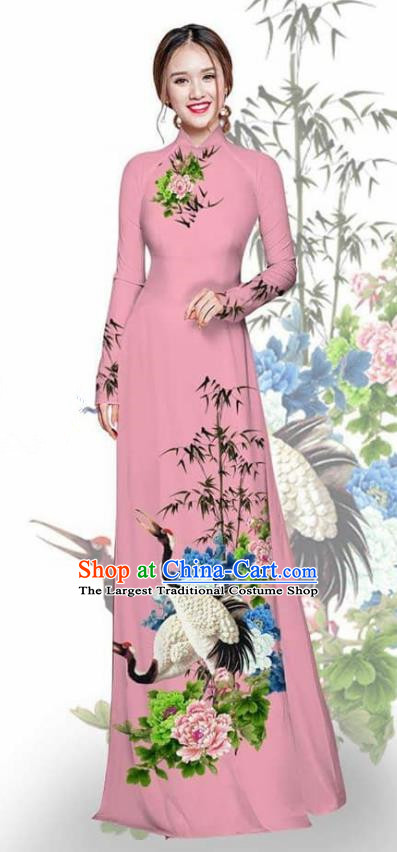 Asian Vietnam Traditional Printing Crane Peony Pink Cheongsam Vietnamese Ao Dai Qipao Dress for Women