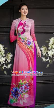 Asian Vietnam Traditional Printing Pink Cheongsam Vietnamese Ao Dai Qipao Dress for Women