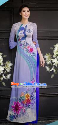 Asian Vietnam Traditional Printing Lilac Cheongsam Vietnamese Ao Dai Qipao Dress for Women