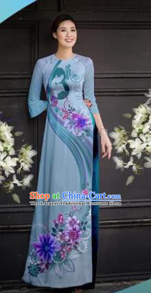Asian Vietnam Traditional Printing Blue Cheongsam Vietnamese Ao Dai Qipao Dress for Women