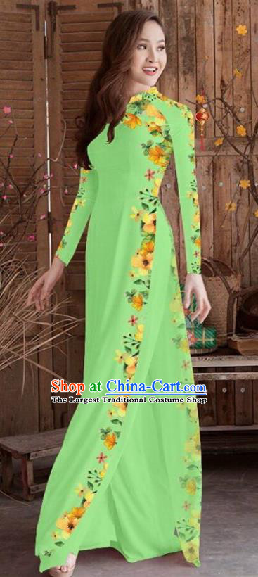 Asian Vietnam Traditional Printing Cheongsam Vietnamese Light Green Ao Dai Qipao Dress for Women