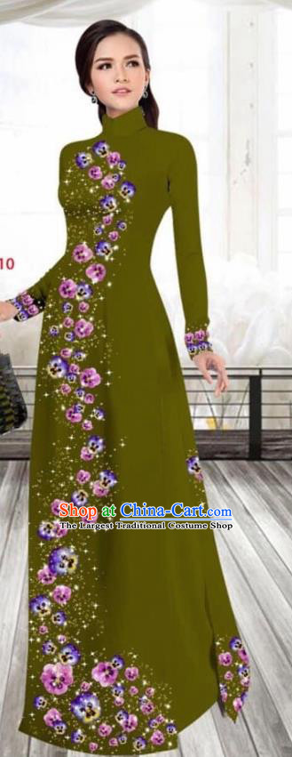 Asian Vietnam Traditional Female Costume Vietnamese Printing Olive Green Cheongsam Ao Dai Qipao Dress for Women