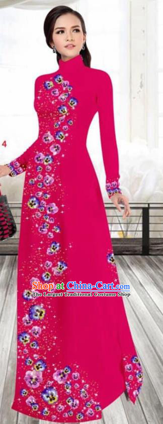 Asian Vietnam Traditional Female Costume Vietnamese Printing Rosy Cheongsam Ao Dai Qipao Dress for Women
