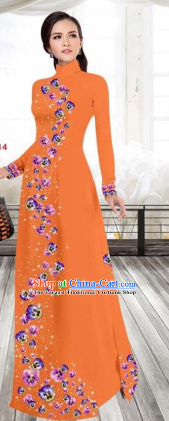 Asian Vietnam Traditional Female Costume Vietnamese Printing Orange Cheongsam Ao Dai Qipao Dress for Women