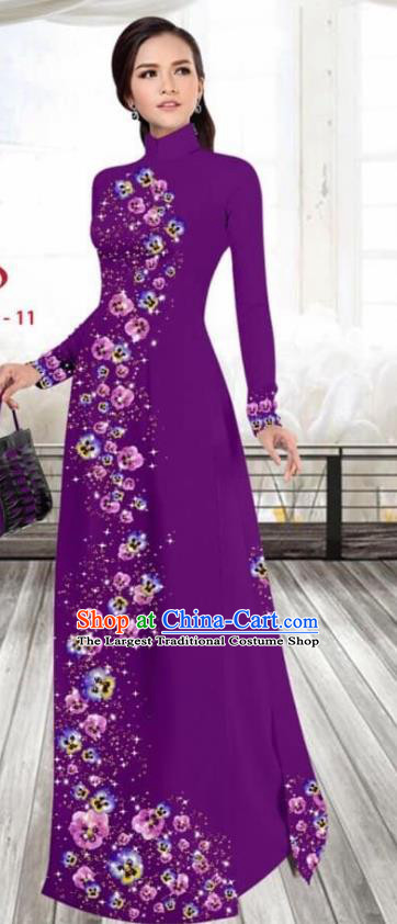 Asian Vietnam Traditional Female Costume Vietnamese Printing Purple Cheongsam Ao Dai Qipao Dress for Women