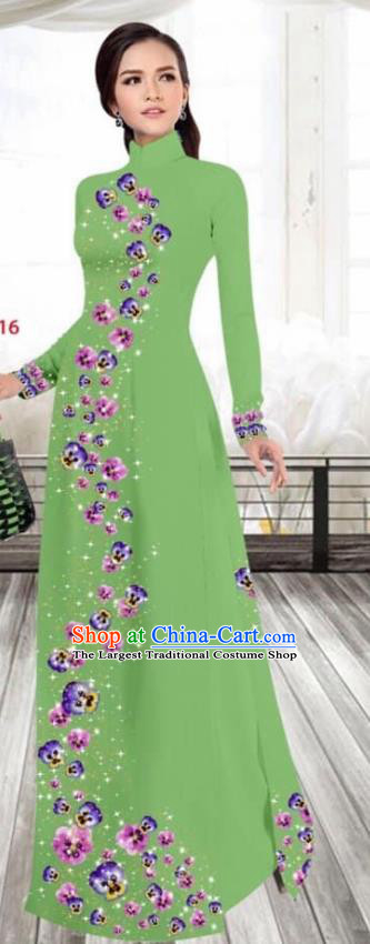 Asian Vietnam Traditional Female Costume Vietnamese Printing Green Cheongsam Ao Dai Qipao Dress for Women