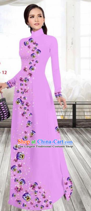 Asian Vietnam Traditional Female Costume Vietnamese Printing Lilac Cheongsam Ao Dai Qipao Dress for Women
