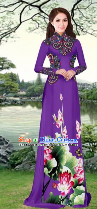 Asian Traditional Vietnam Female Costume Vietnamese Printing Lotus Purple Cheongsam Ao Dai Qipao Dress for Women