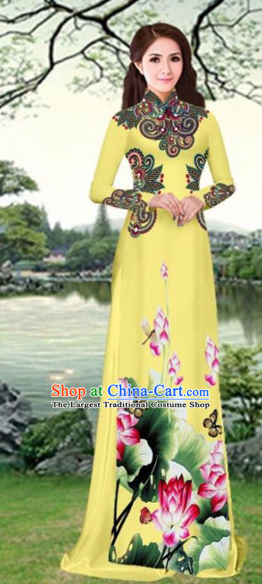 Asian Traditional Vietnam Female Costume Vietnamese Printing Lotus Yellow Cheongsam Ao Dai Qipao Dress for Women