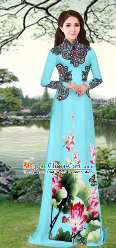 Asian Traditional Vietnam Female Costume Vietnamese Printing Lotus Blue Cheongsam Ao Dai Qipao Dress for Women