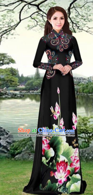 Asian Traditional Vietnam Female Costume Vietnamese Printing Lotus Black Cheongsam Ao Dai Qipao Dress for Women