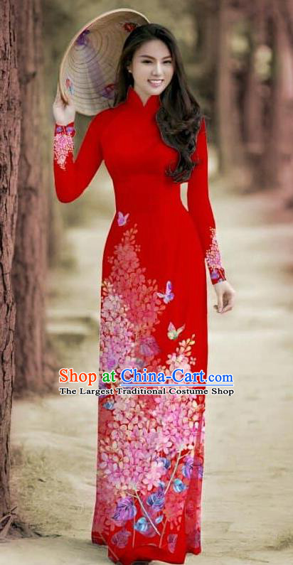 Asian Traditional Vietnam Female Costume Vietnamese Bride Cheongsam Red Ao Dai Qipao Dress for Women