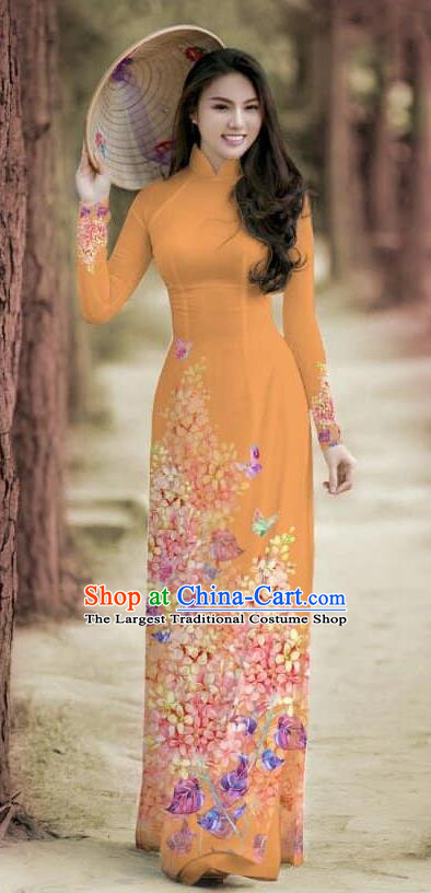 Asian Traditional Vietnam Female Costume Vietnamese Bride Cheongsam Orange Ao Dai Qipao Dress for Women