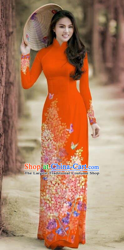 Asian Traditional Vietnam Female Costume Vietnamese Bride Cheongsam Rouge Ao Dai Qipao Dress for Women