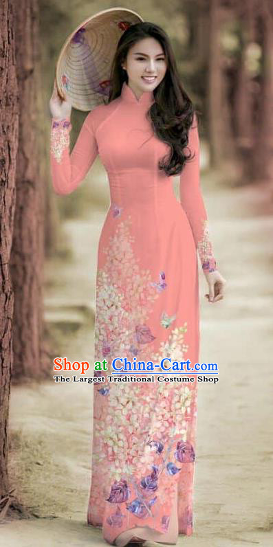 Asian Traditional Vietnam Female Costume Vietnamese Bride Cheongsam Peach Pink Ao Dai Qipao Dress for Women
