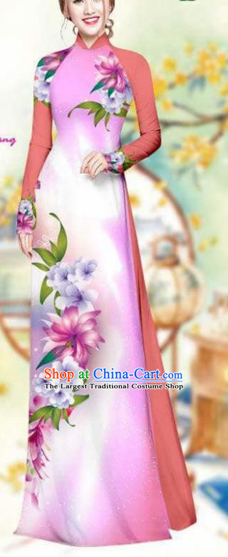 Asian Traditional Vietnam Female Costume Vietnamese Bride Cheongsam Ao Dai Qipao Dress for Women
