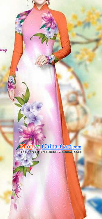 Asian Traditional Vietnam Female Costume Vietnamese Bride Pink Cheongsam Ao Dai Qipao Dress for Women