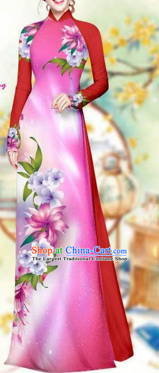 Asian Traditional Vietnam Female Costume Vietnamese Bride Rosy Cheongsam Ao Dai Qipao Dress for Women