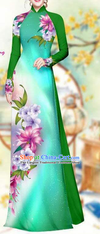 Asian Traditional Vietnam Female Costume Vietnamese Bride Deep Green Cheongsam Ao Dai Qipao Dress for Women