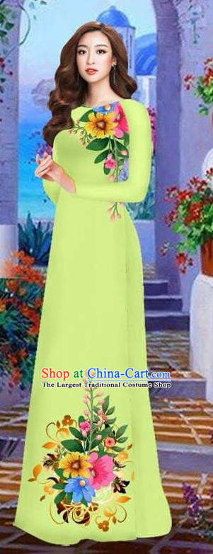 Asian Vietnam Traditional Female Costume Vietnamese Light Green Cheongsam Printing Ao Dai Qipao Dress for Women