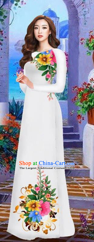 Asian Vietnam Traditional Female Costume Vietnamese White Cheongsam Printing Ao Dai Qipao Dress for Women