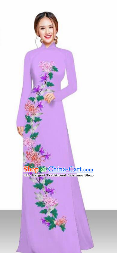 Asian Vietnam Traditional Female Costume Vietnamese Printing Chrysanthemum Lilac Ao Dai Qipao Dress for Women