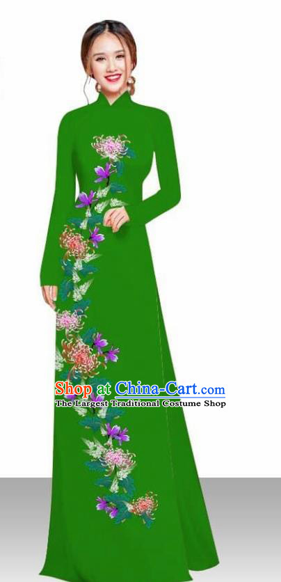 Asian Vietnam Traditional Female Costume Vietnamese Printing Chrysanthemum Green Ao Dai Qipao Dress for Women