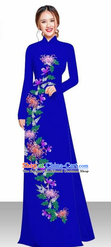 Asian Vietnam Traditional Female Costume Vietnamese Printing Chrysanthemum Royalblue Ao Dai Qipao Dress for Women