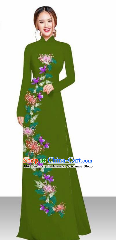 Asian Vietnam Traditional Female Costume Vietnamese Printing Chrysanthemum Olive Green Ao Dai Qipao Dress for Women