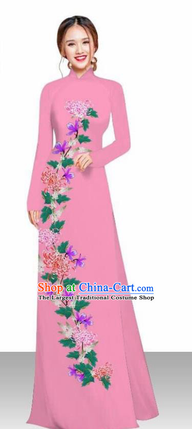 Asian Vietnam Traditional Female Costume Vietnamese Printing Chrysanthemum Pink Ao Dai Qipao Dress for Women