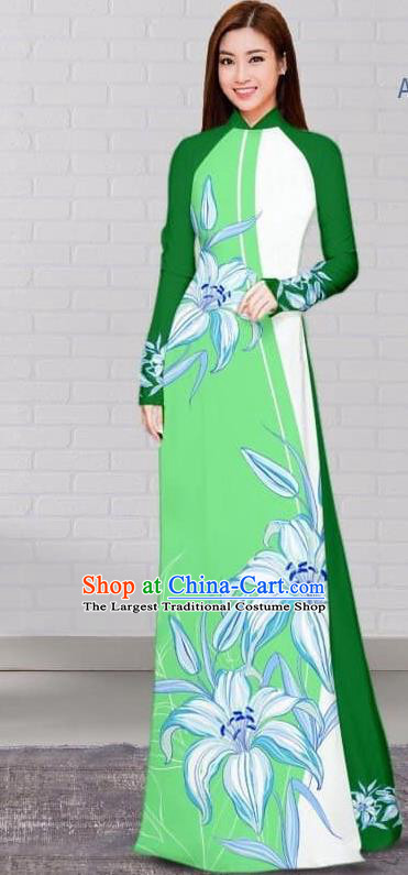 Asian Traditional Vietnam Costume Vietnamese Bride Deep Green Cheongsam Ao Dai Qipao Dress for Women