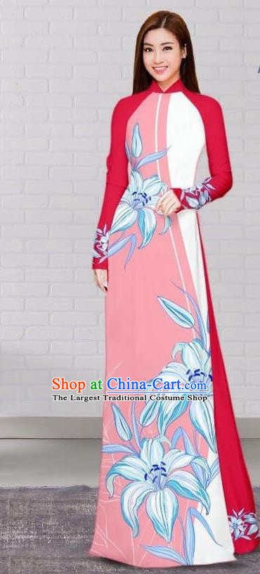 Asian Traditional Vietnam Costume Vietnamese Bride Cheongsam Pink Ao Dai Qipao Dress for Women