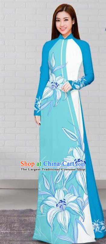 Asian Traditional Vietnam Costume Vietnamese Bride Cheongsam Light Blue Ao Dai Qipao Dress for Women