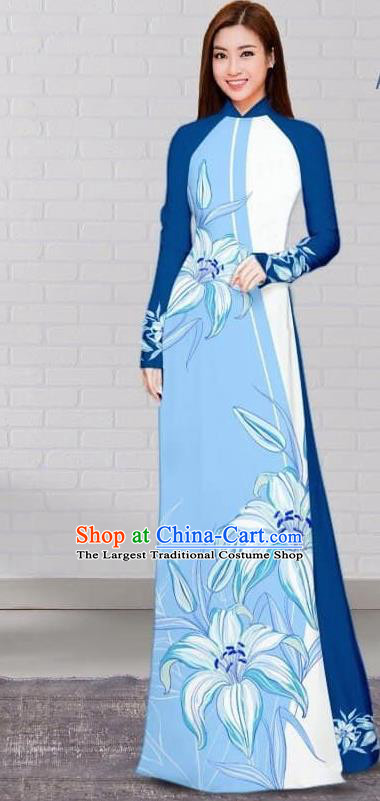 Asian Traditional Vietnam Costume Vietnamese Bride Cheongsam Blue Ao Dai Qipao Dress for Women