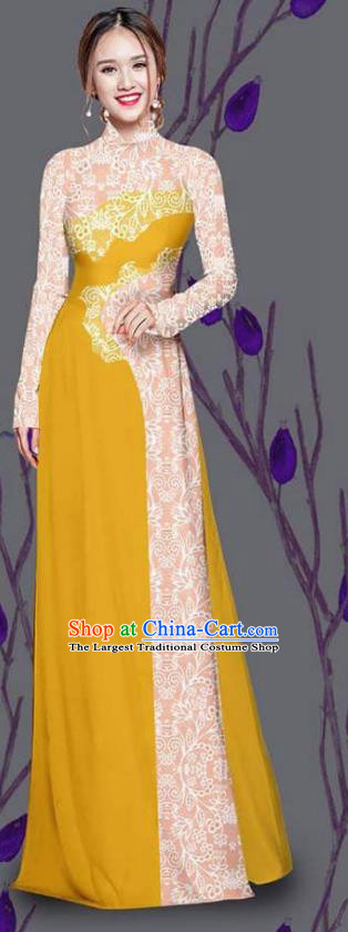 Asian Traditional Vietnam Costume Ao Dai Qipao Dress Vietnamese Bride Lemon Yellow Cheongsam for Women