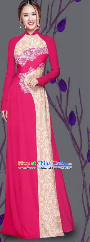 Asian Traditional Vietnam Costume Ao Dai Qipao Dress Vietnamese Bride Rosy Cheongsam for Women