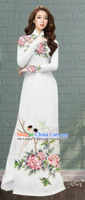 Asian Traditional Vietnam Costume Printing Peony Ao Dai Qipao Dress Vietnamese Bride Cheongsam for Women